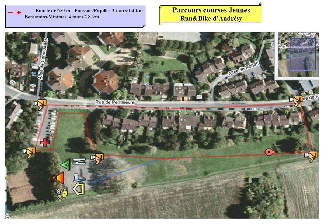 Parcours courses Jeunes Run&Bike dAndrésy Boucle de 650 m - Poussins/Pupilles 2 tours/1.4 km Benjamins/Minimes 4 tours/2.8 km