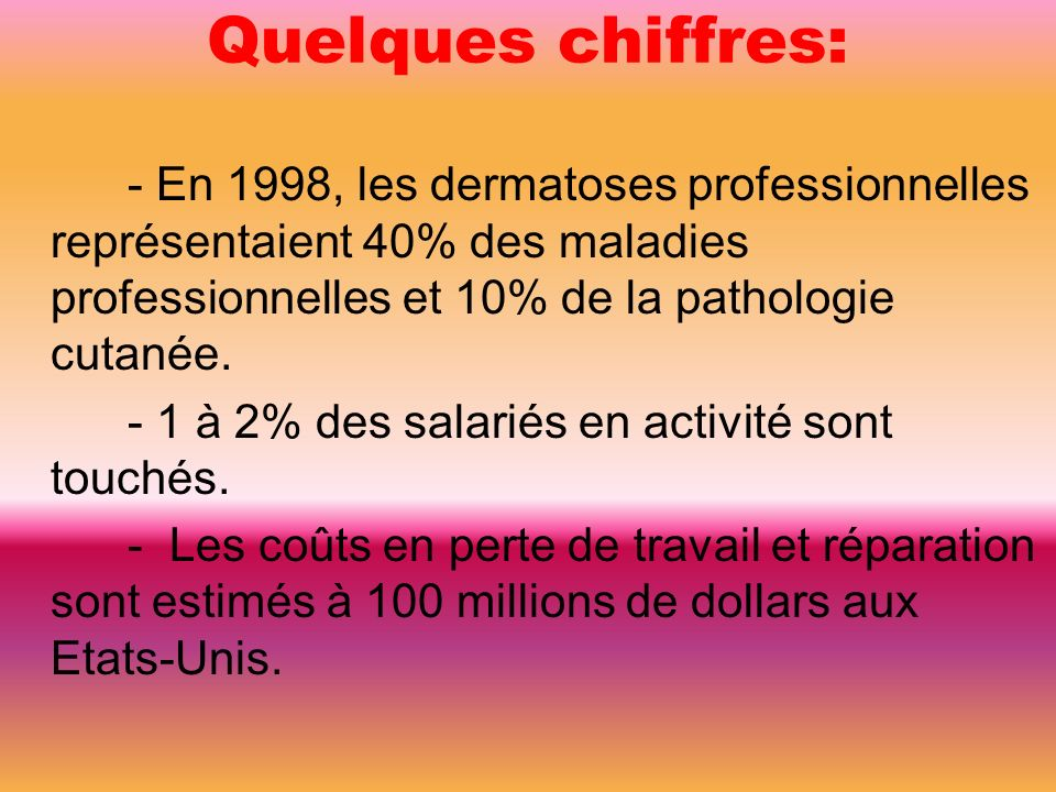 Quelques chiffres: - En 1998, les dermatoses professionnelles représentaient 40% des maladies professionnelles et 10% de la pathologie cutanée.