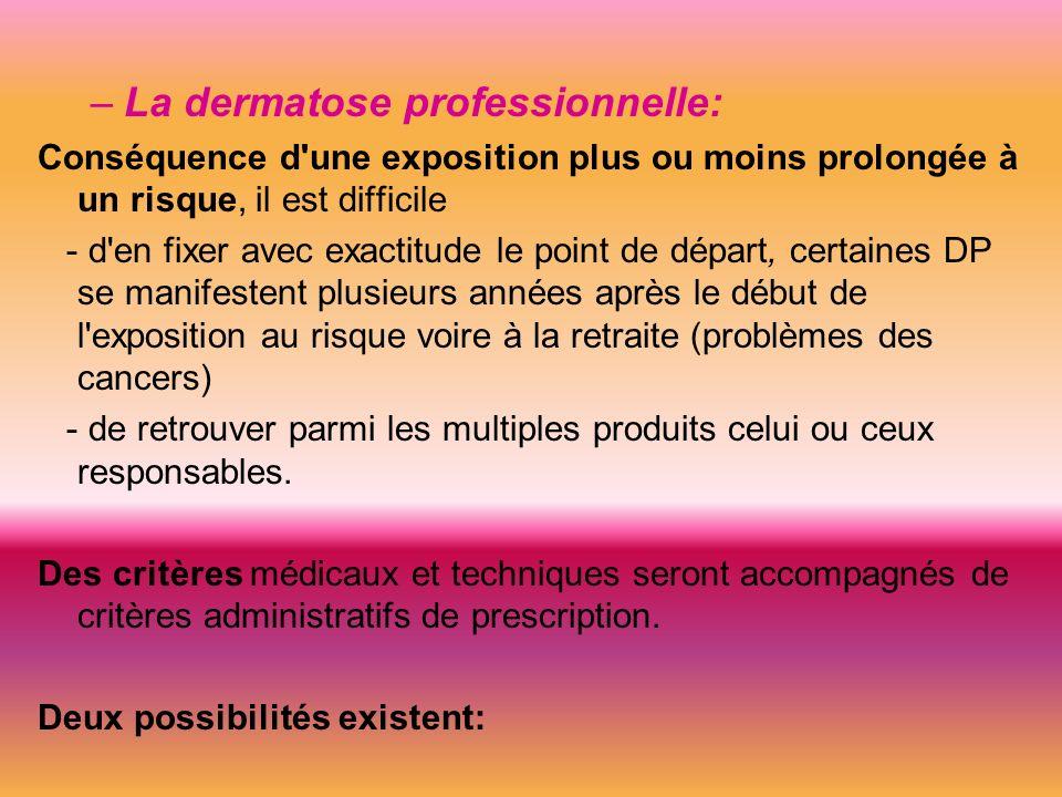 Conclusion: Une dermatose professionnelle peut être: – un AT à type de dermatose: Infirmière se piquant avec une aiguille utilisée sur un SIDEEN.