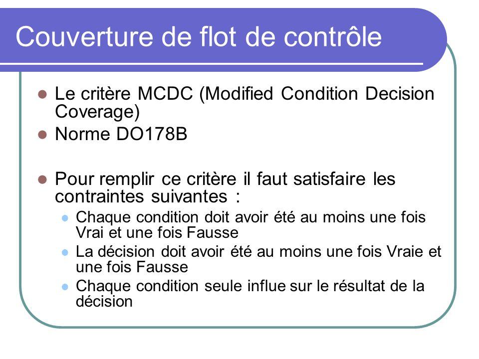 Couverture de flot de contrôle Le critère MCDC (Modified Condition Decision Coverage) Norme DO178B Pour remplir ce critère il faut satisfaire les cont