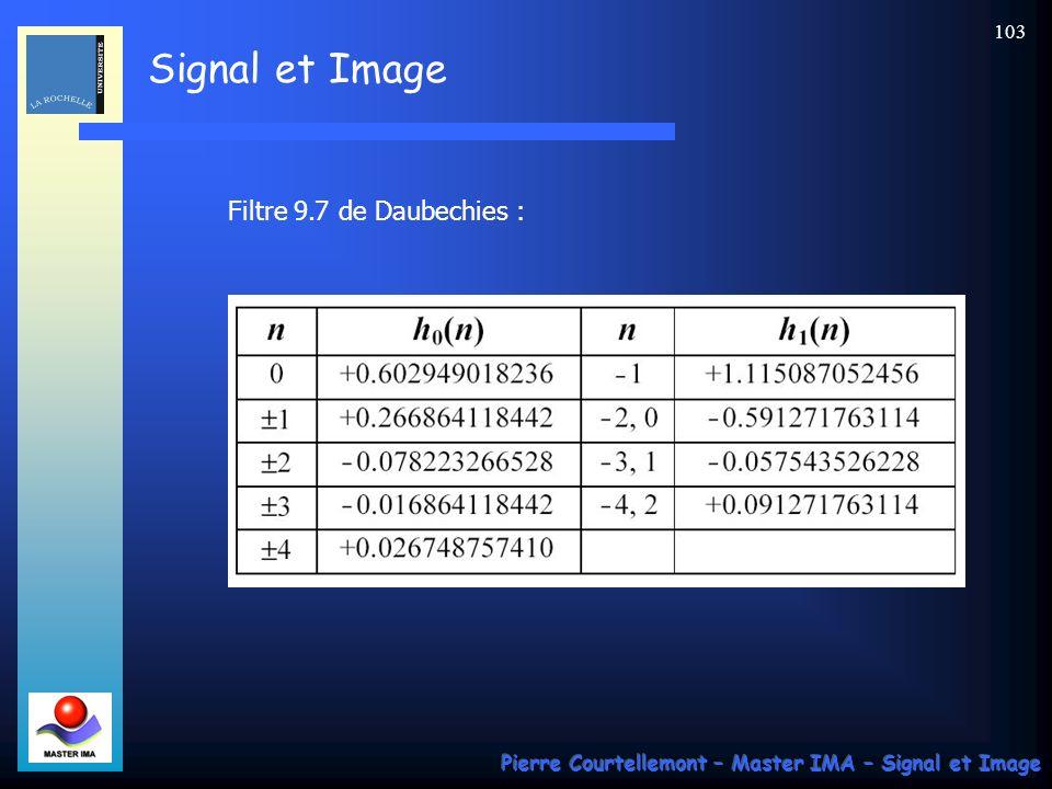 Signal et Image Pierre Courtellemont – Master IMA – Signal et Image 103 Filtre 9.7 de Daubechies :