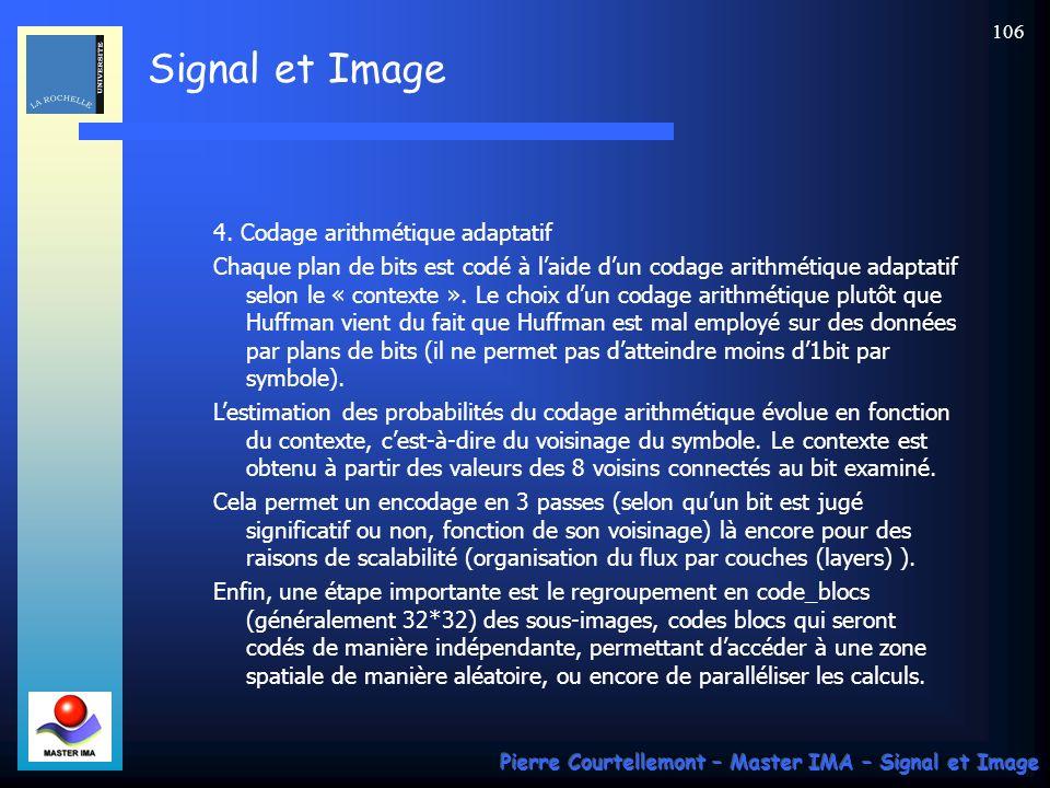 Signal et Image Pierre Courtellemont – Master IMA – Signal et Image 106 4. Codage arithmétique adaptatif Chaque plan de bits est codé à laide dun coda
