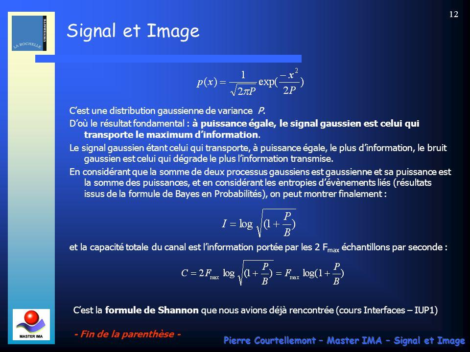 Signal et Image Pierre Courtellemont – Master IMA – Signal et Image 12 Cest une distribution gaussienne de variance P. Doù le résultat fondamental : à
