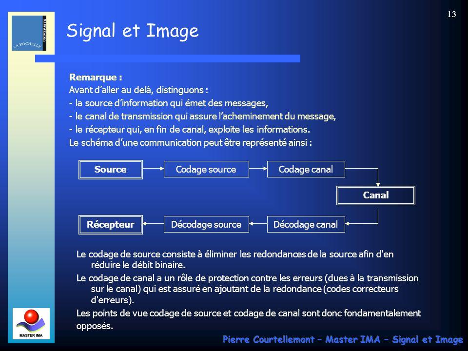 Signal et Image Pierre Courtellemont – Master IMA – Signal et Image 13 Remarque : Avant daller au delà, distinguons : - la source dinformation qui éme