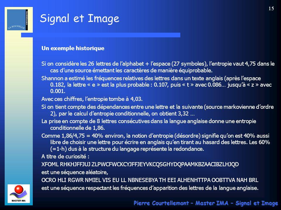 Signal et Image Pierre Courtellemont – Master IMA – Signal et Image 15 Un exemple historique Si on considère les 26 lettres de lalphabet + lespace (27