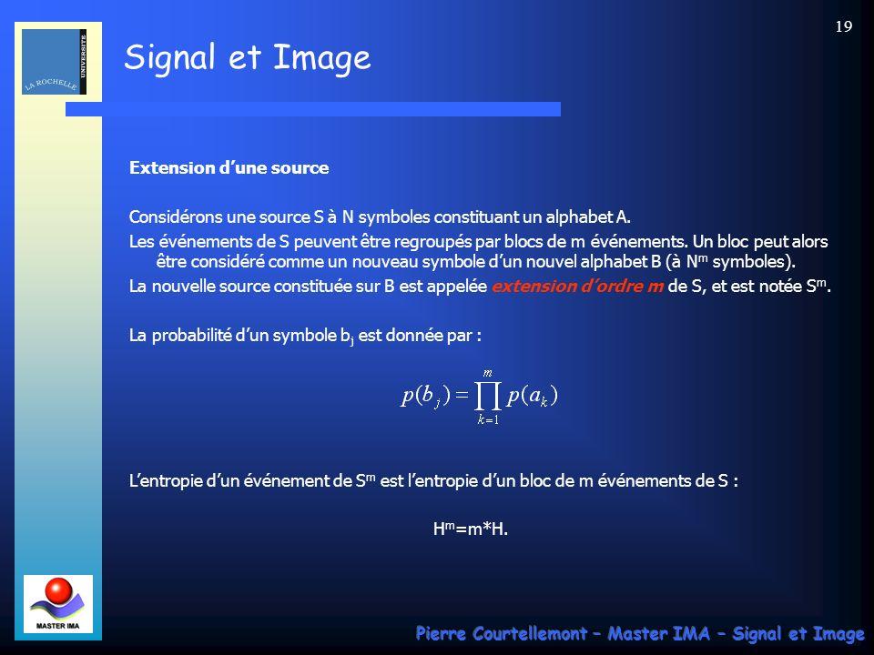 Signal et Image Pierre Courtellemont – Master IMA – Signal et Image 19 Extension dune source Considérons une source S à N symboles constituant un alph