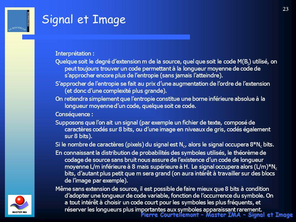 Signal et Image Pierre Courtellemont – Master IMA – Signal et Image 23 Interprétation : Quelque soit le degré dextension m de la source, quel que soit