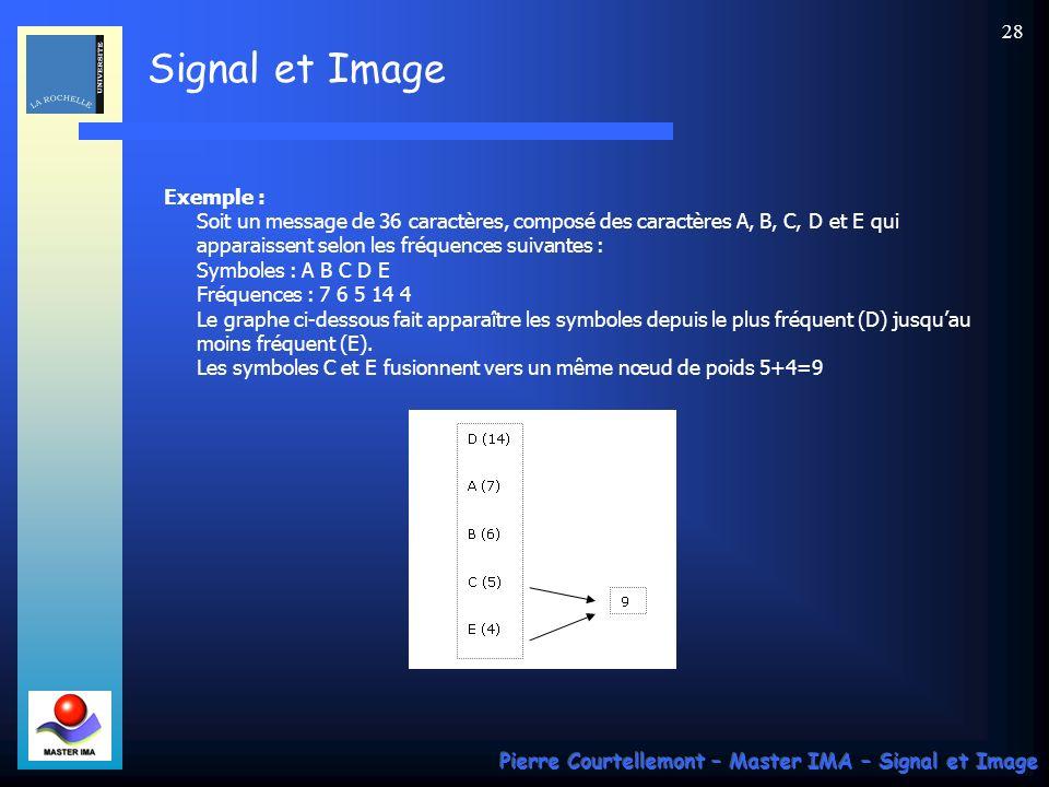 Signal et Image Pierre Courtellemont – Master IMA – Signal et Image 28 Exemple : Soit un message de 36 caractères, composé des caractères A, B, C, D e