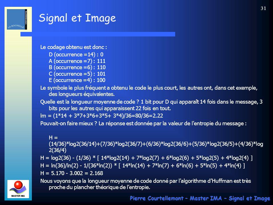 Signal et Image Pierre Courtellemont – Master IMA – Signal et Image 31 Le codage obtenu est donc : D (occurrence =14) : 0 A (occurrence =7) : 111 B (o