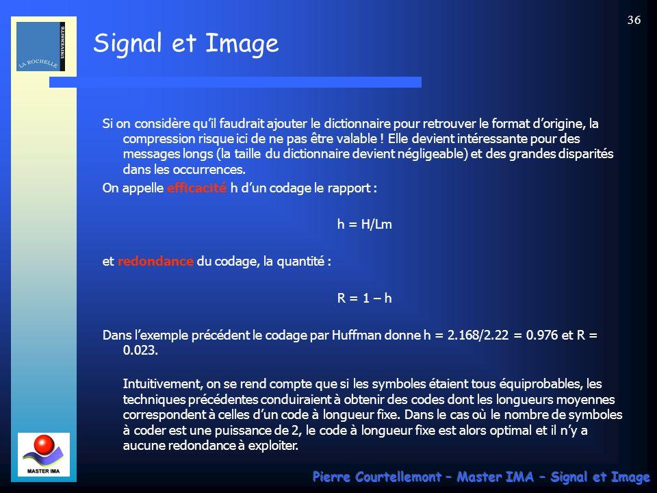 Signal et Image Pierre Courtellemont – Master IMA – Signal et Image 36 Si on considère quil faudrait ajouter le dictionnaire pour retrouver le format