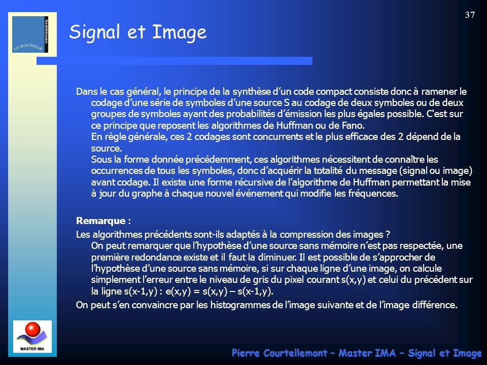 Signal et Image Pierre Courtellemont – Master IMA – Signal et Image 37 Dans le cas général, le principe de la synthèse dun code compact consiste donc