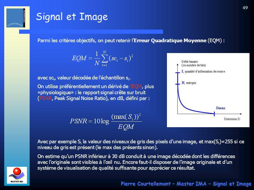 Signal et Image Pierre Courtellemont – Master IMA – Signal et Image 49 Parmi les critères objectifs, on peut retenir lErreur Quadratique Moyenne (EQM)