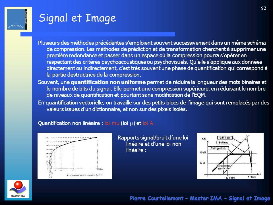 Signal et Image Pierre Courtellemont – Master IMA – Signal et Image 52 Plusieurs des méthodes précédentes semploient souvent successivement dans un mê