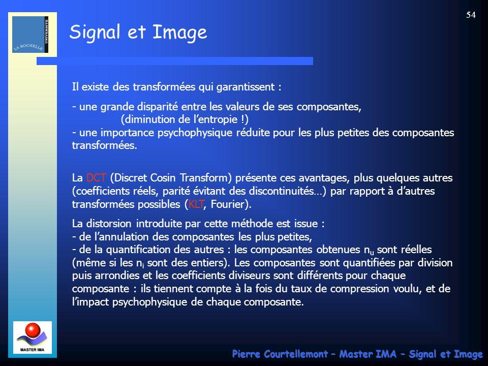 Signal et Image Pierre Courtellemont – Master IMA – Signal et Image 54 Il existe des transformées qui garantissent : - une grande disparité entre les