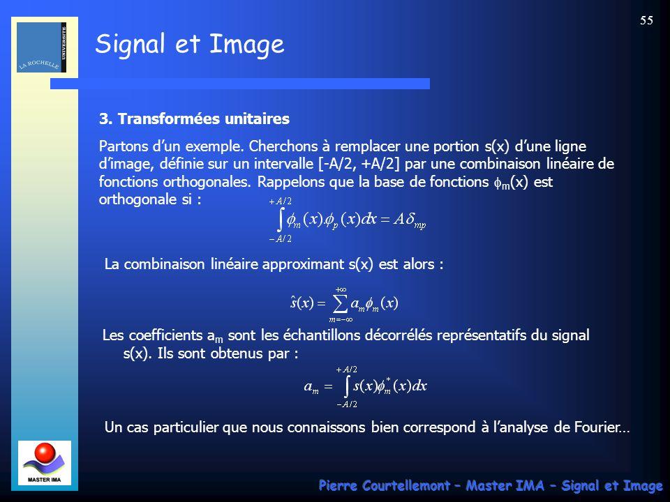 Signal et Image Pierre Courtellemont – Master IMA – Signal et Image 55 3. Transformées unitaires Partons dun exemple. Cherchons à remplacer une portio