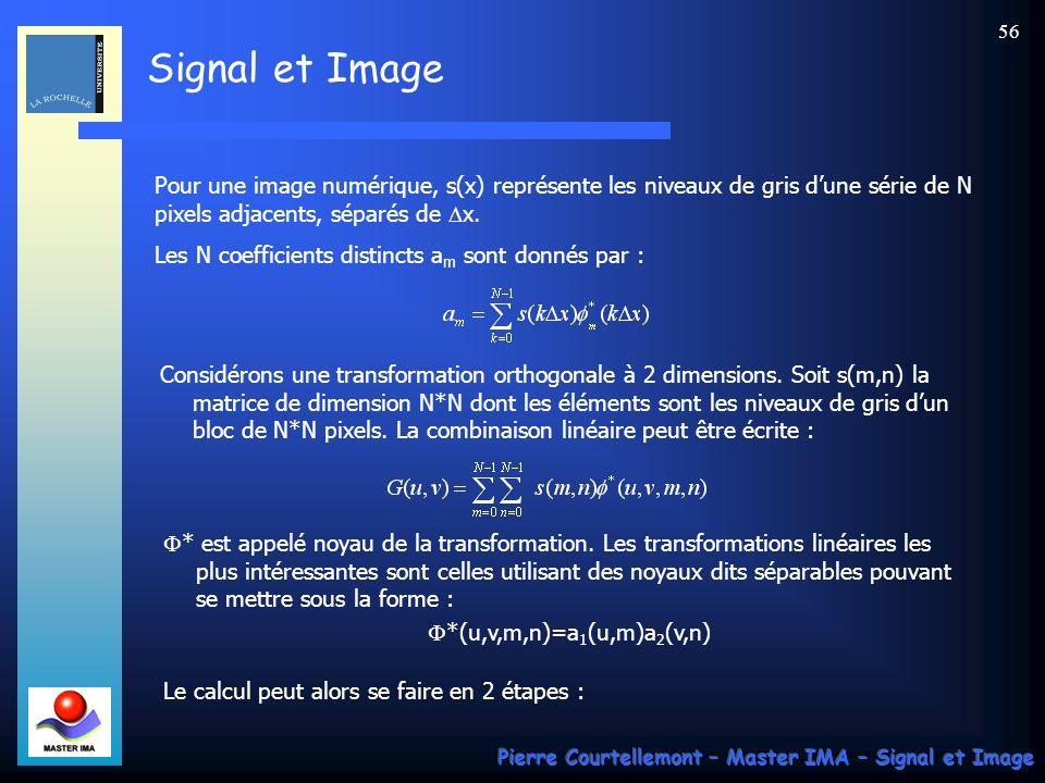 Signal et Image Pierre Courtellemont – Master IMA – Signal et Image 56 Pour une image numérique, s(x) représente les niveaux de gris dune série de N p