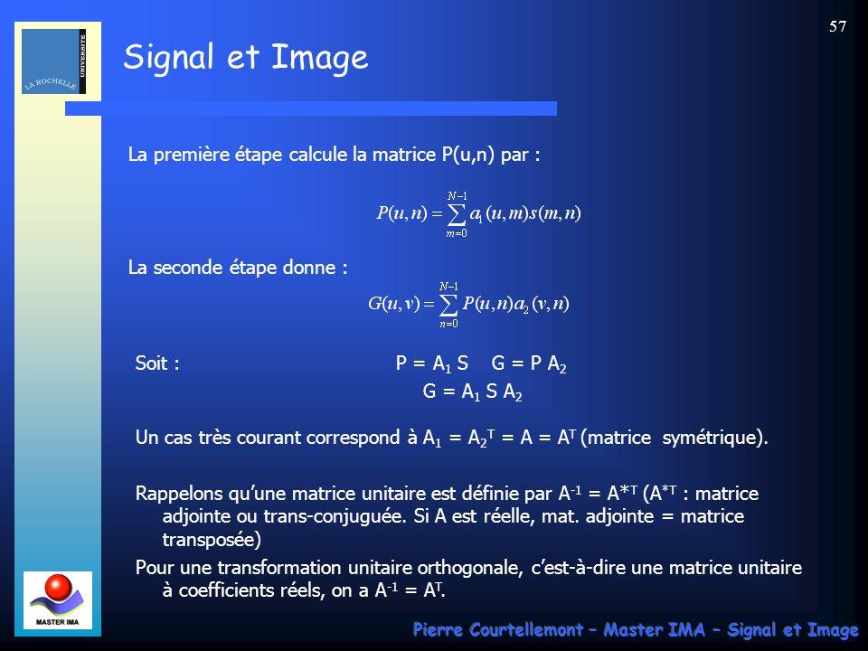 Signal et Image Pierre Courtellemont – Master IMA – Signal et Image 57 La première étape calcule la matrice P(u,n) par : Soit :P = A 1 S G = P A 2 G =