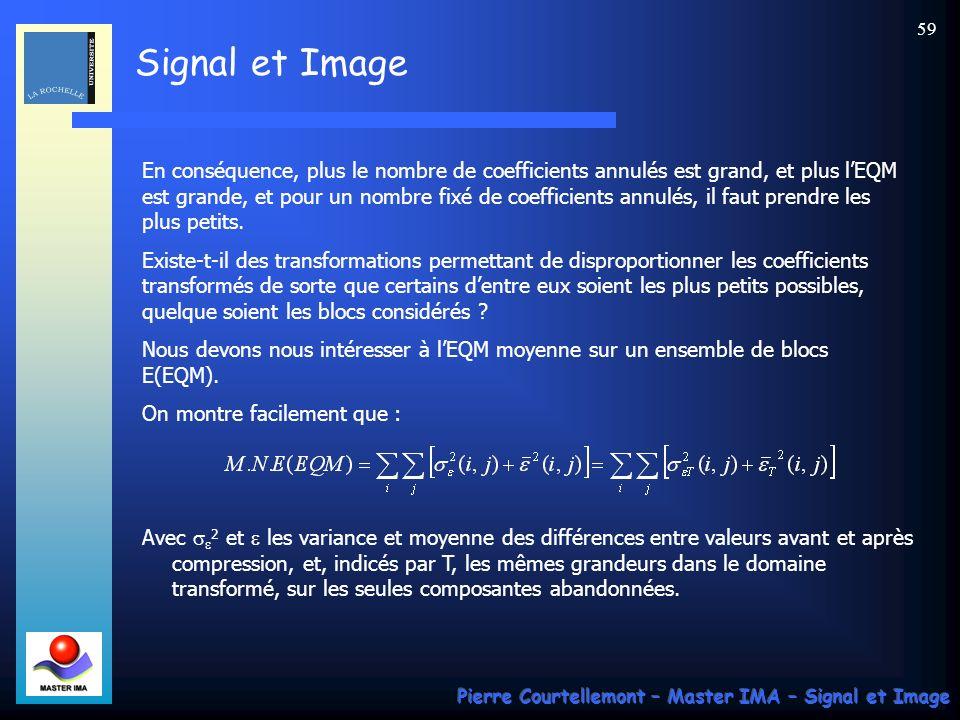 Signal et Image Pierre Courtellemont – Master IMA – Signal et Image 59 En conséquence, plus le nombre de coefficients annulés est grand, et plus lEQM