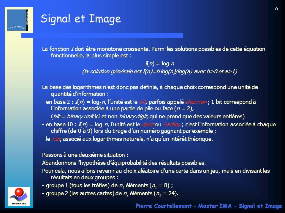 Signal et Image Pierre Courtellemont – Master IMA – Signal et Image 37 Dans le cas général, le principe de la synthèse dun code compact consiste donc à ramener le codage dune série de symboles dune source S au codage de deux symboles ou de deux groupes de symboles ayant des probabilités démission les plus égales possible.