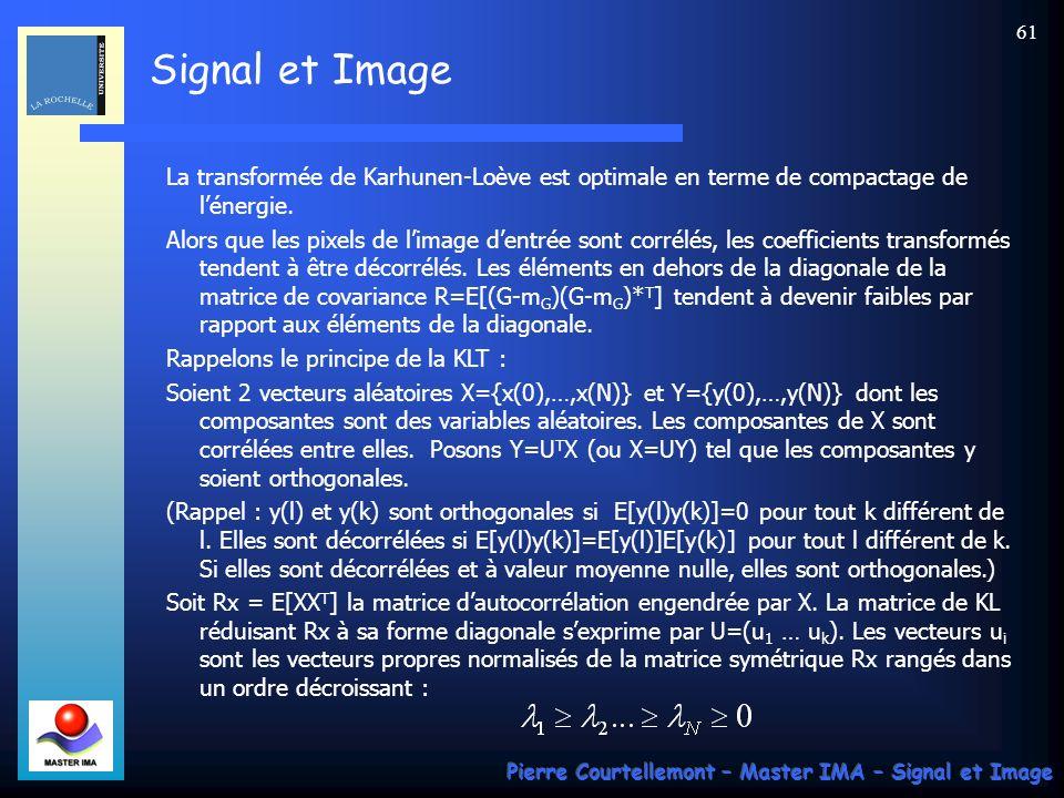 Signal et Image Pierre Courtellemont – Master IMA – Signal et Image 61 La transformée de Karhunen-Loève est optimale en terme de compactage de lénergi