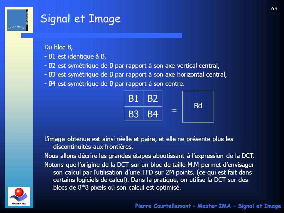 Signal et Image Pierre Courtellemont – Master IMA – Signal et Image 65 Du bloc B, - B1 est identique à B, - B2 est symétrique de B par rapport à son a