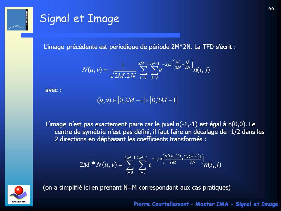 Signal et Image Pierre Courtellemont – Master IMA – Signal et Image 66 Limage précédente est périodique de période 2M*2N. La TFD sécrit : avec : Limag