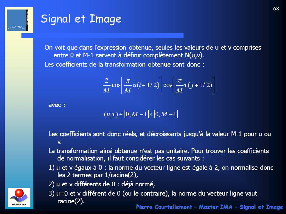 Signal et Image Pierre Courtellemont – Master IMA – Signal et Image 68 On voit que dans lexpression obtenue, seules les valeurs de u et v comprises en