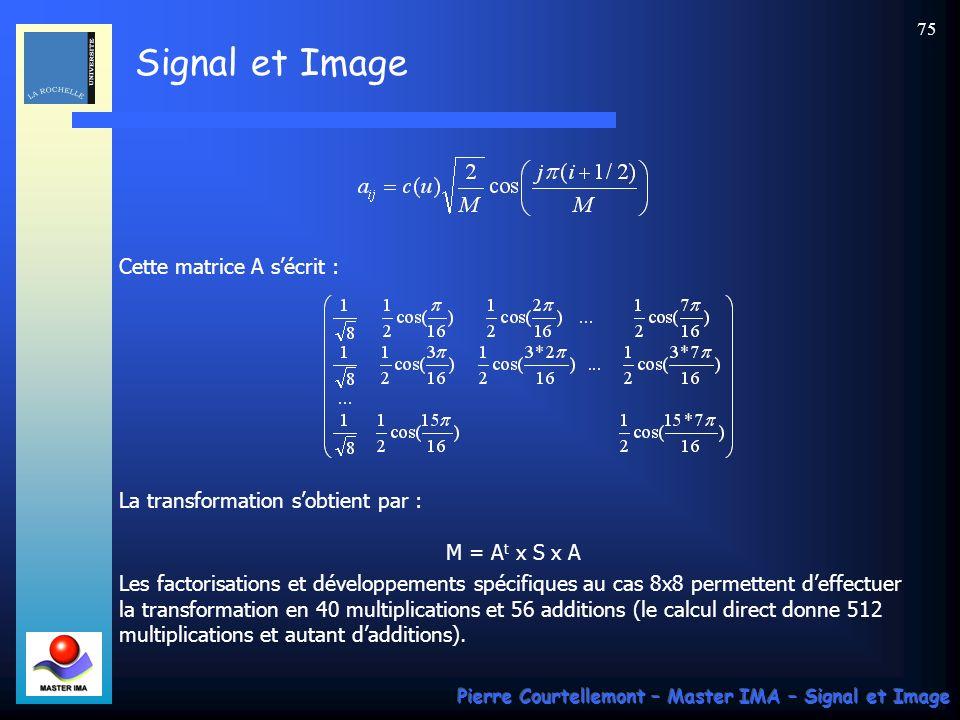 Signal et Image Pierre Courtellemont – Master IMA – Signal et Image 75 Cette matrice A sécrit : La transformation sobtient par : M = A t x S x A Les f