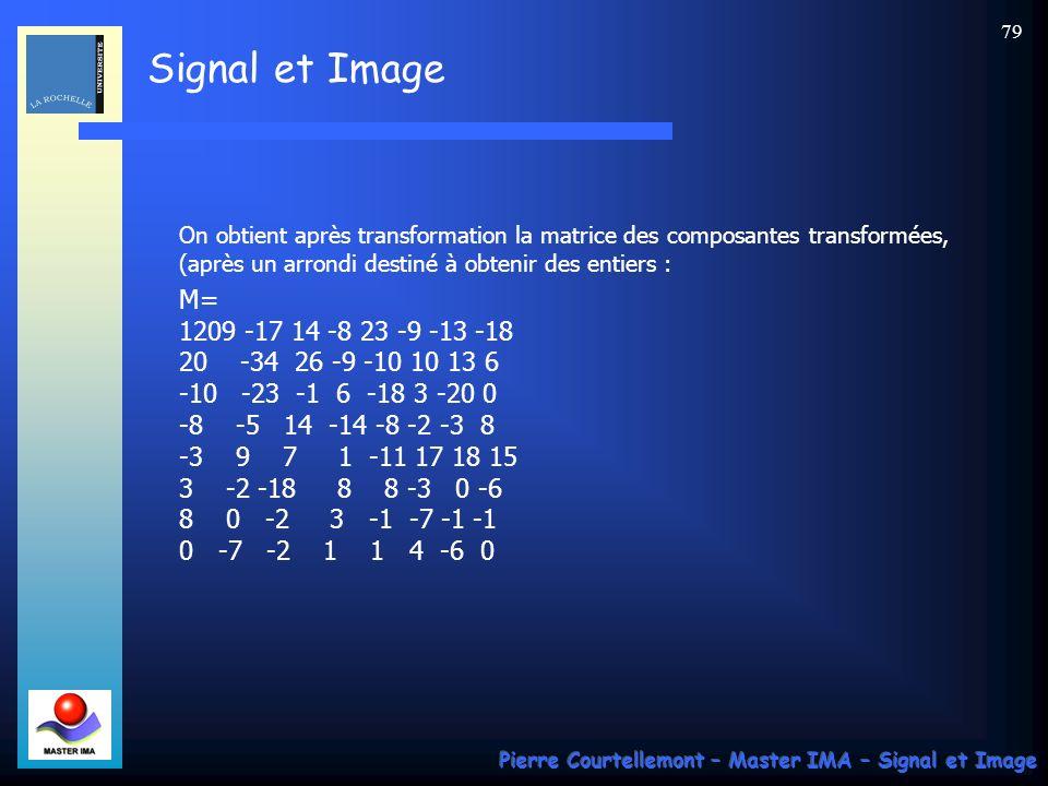 Signal et Image Pierre Courtellemont – Master IMA – Signal et Image 79 On obtient après transformation la matrice des composantes transformées, (après