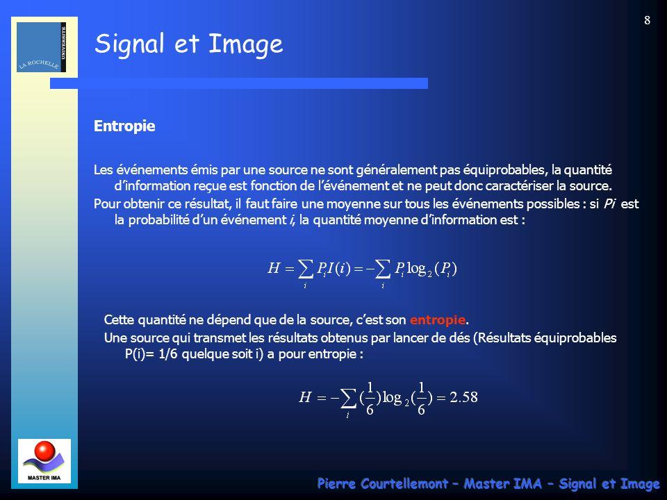 Signal et Image Pierre Courtellemont – Master IMA – Signal et Image 79 On obtient après transformation la matrice des composantes transformées, (après un arrondi destiné à obtenir des entiers : M= 1209 -17 14 -8 23 -9 -13 -18 20 -34 26 -9 -10 10 13 6 -10 -23 -1 6 -18 3 -20 0 -8 -5 14 -14 -8 -2 -3 8 -3 9 7 1 -11 17 18 15 3 -2 -18 8 8 -3 0 -6 8 0 -2 3 -1 -7 -1 -1 0 -7 -2 1 1 4 -6 0