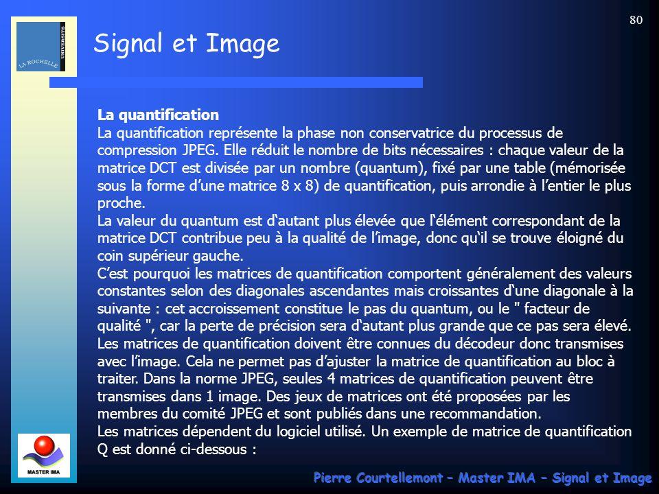 Signal et Image Pierre Courtellemont – Master IMA – Signal et Image 80 La quantification La quantification représente la phase non conservatrice du pr