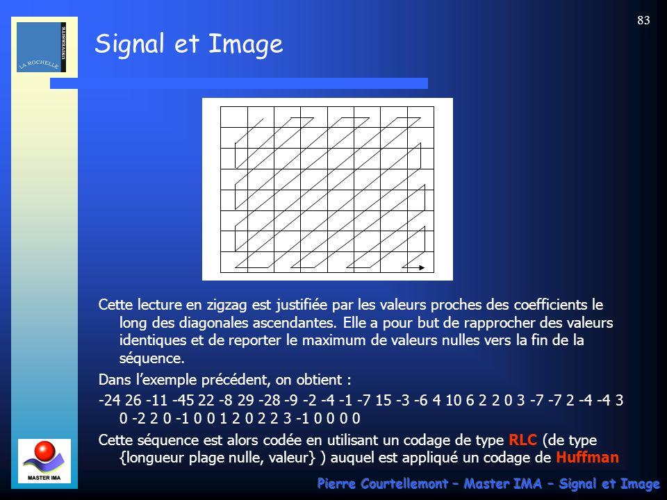Signal et Image Pierre Courtellemont – Master IMA – Signal et Image 83 Cette lecture en zigzag est justifiée par les valeurs proches des coefficients
