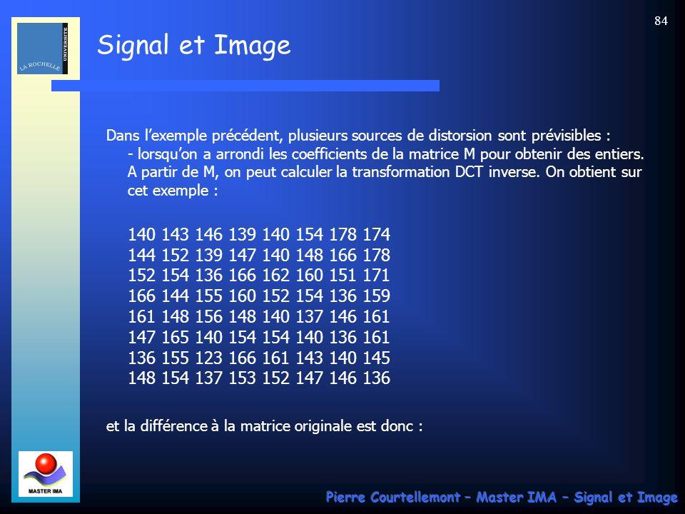 Signal et Image Pierre Courtellemont – Master IMA – Signal et Image 84 Dans lexemple précédent, plusieurs sources de distorsion sont prévisibles : - l