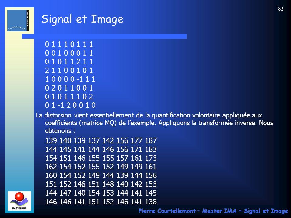 Signal et Image Pierre Courtellemont – Master IMA – Signal et Image 85 0 1 1 1 0 1 1 1 0 0 1 0 0 0 1 1 0 1 0 1 1 2 1 1 2 1 1 0 0 1 0 1 1 0 0 0 0 -1 1
