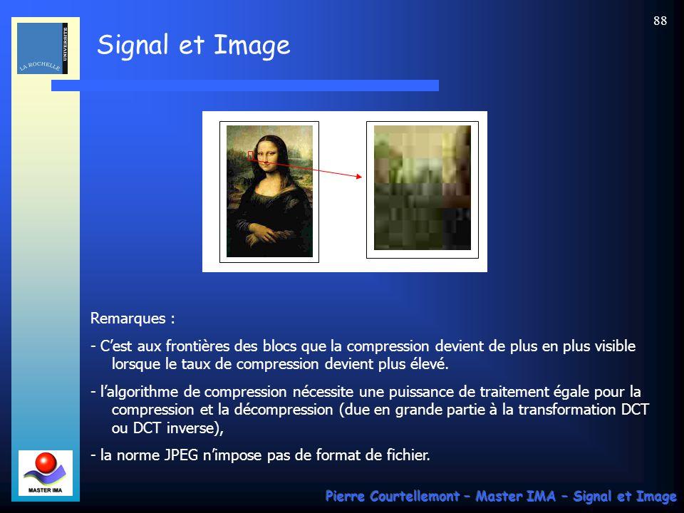 Signal et Image Pierre Courtellemont – Master IMA – Signal et Image 88 Remarques : - Cest aux frontières des blocs que la compression devient de plus