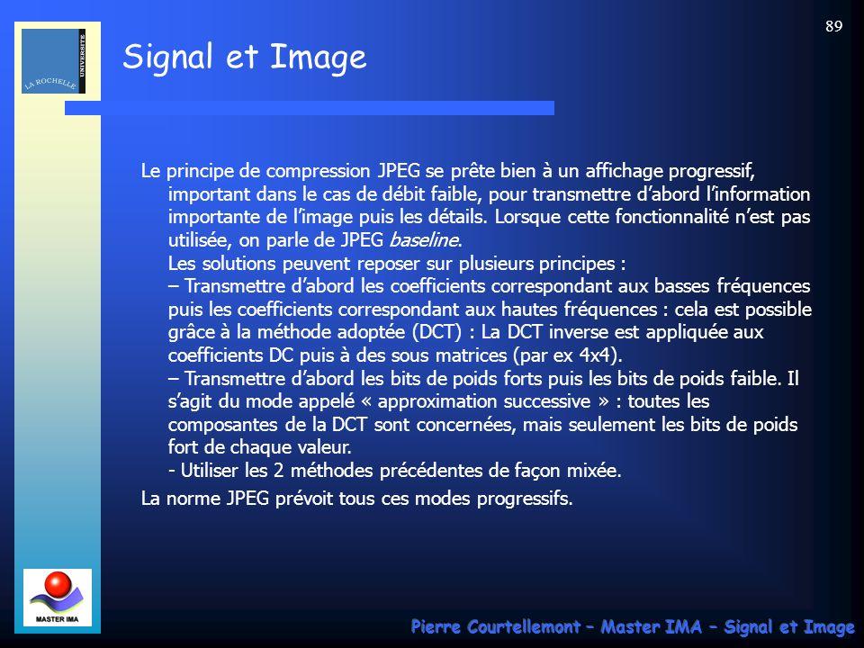 Signal et Image Pierre Courtellemont – Master IMA – Signal et Image 89 Le principe de compression JPEG se prête bien à un affichage progressif, import