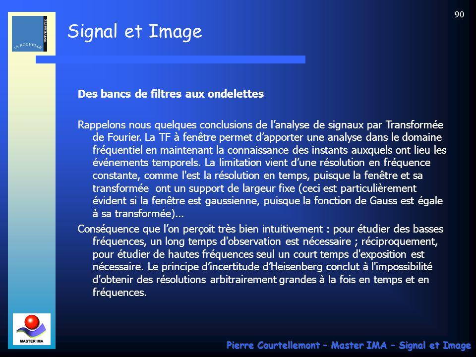 Signal et Image Pierre Courtellemont – Master IMA – Signal et Image 90 Des bancs de filtres aux ondelettes Rappelons nous quelques conclusions de lana