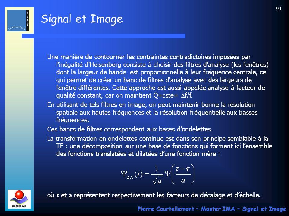 Signal et Image Pierre Courtellemont – Master IMA – Signal et Image 91 Une manière de contourner les contraintes contradictoires imposées par l'inégal