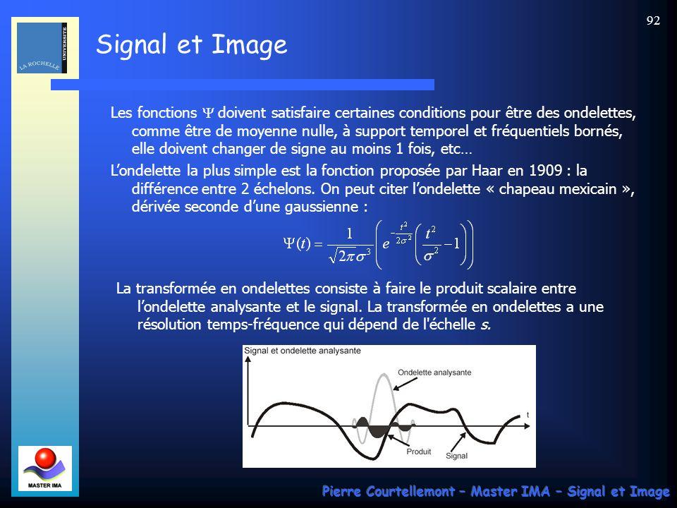 Signal et Image Pierre Courtellemont – Master IMA – Signal et Image 92 Les fonctions doivent satisfaire certaines conditions pour être des ondelettes,