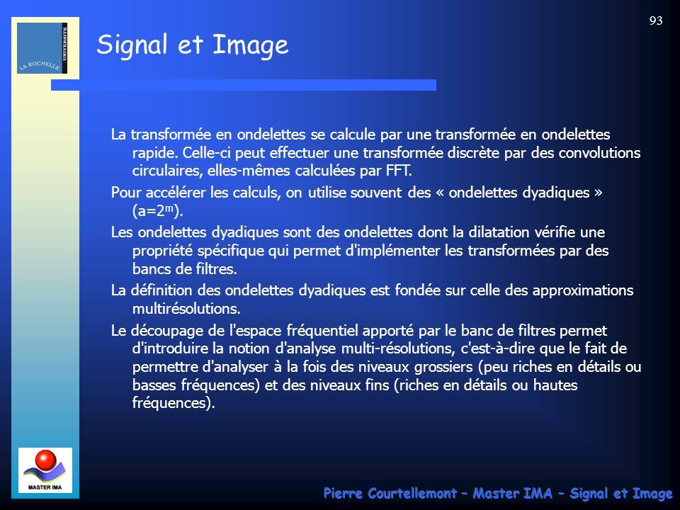 Signal et Image Pierre Courtellemont – Master IMA – Signal et Image 93 La transformée en ondelettes se calcule par une transformée en ondelettes rapid
