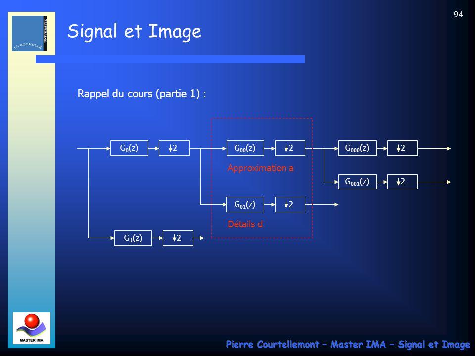 Signal et Image Pierre Courtellemont – Master IMA – Signal et Image 94 Rappel du cours (partie 1) : G 0 (z) 2G 00 (z) 2 G 01 (z) 2 G 1 (z) 2 G 000 (z)