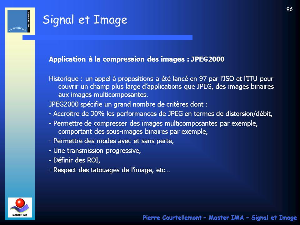 Signal et Image Pierre Courtellemont – Master IMA – Signal et Image 96 Application à la compression des images : JPEG2000 Historique : un appel à prop