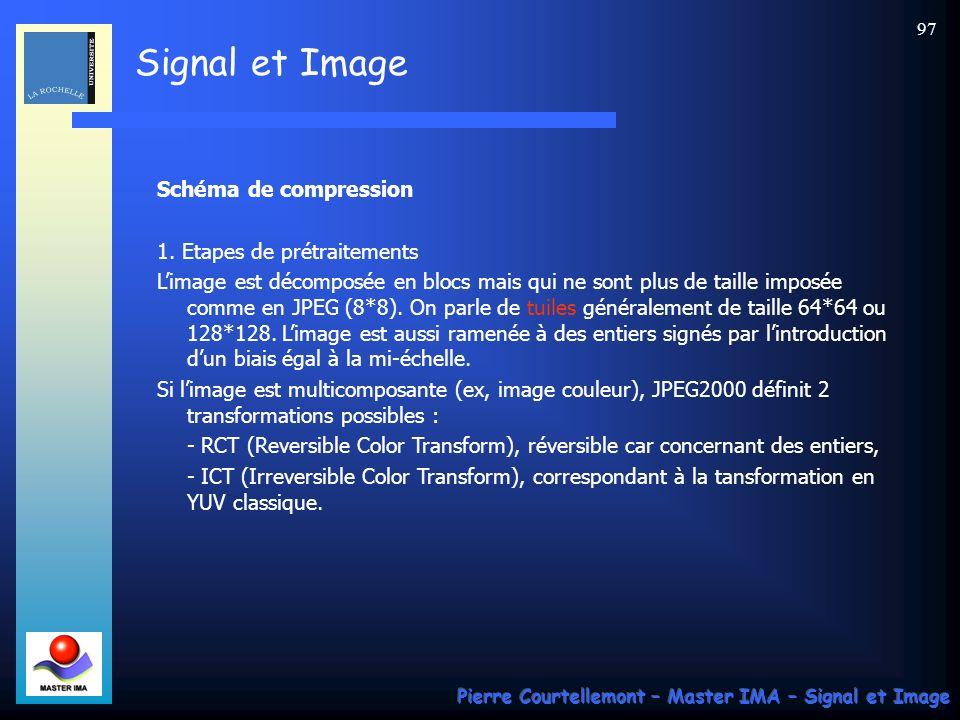 Signal et Image Pierre Courtellemont – Master IMA – Signal et Image 97 Schéma de compression 1. Etapes de prétraitements Limage est décomposée en bloc
