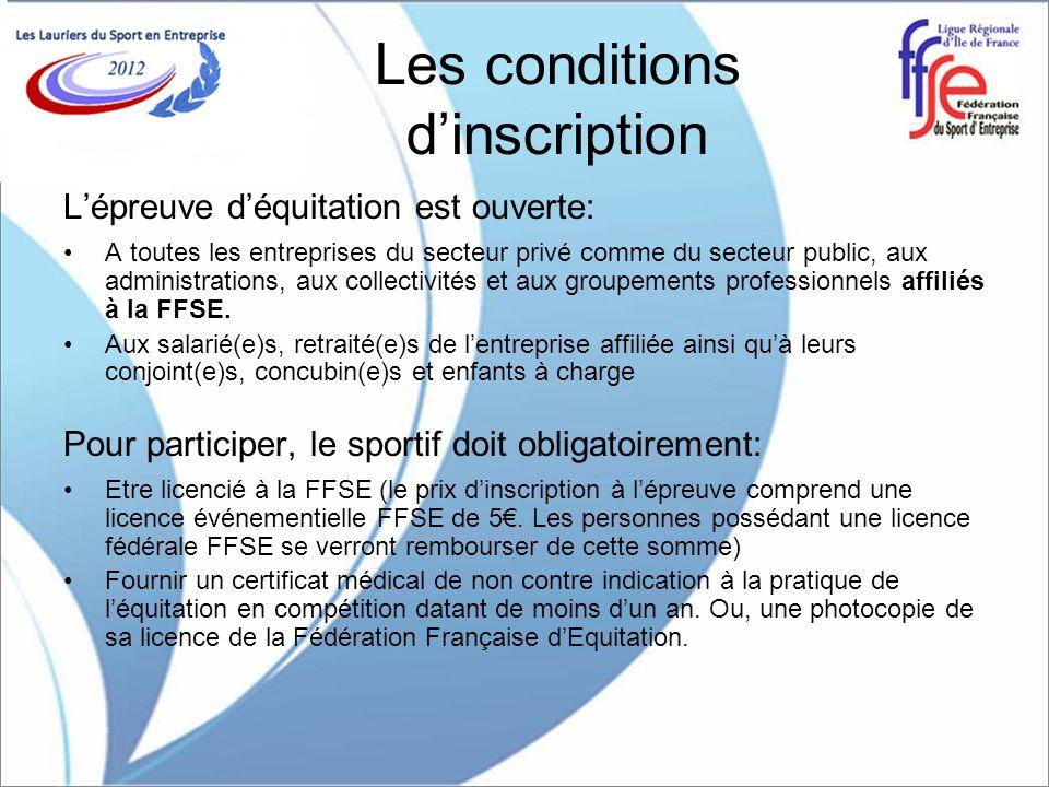 Les conditions dinscription Lépreuve déquitation est ouverte: A toutes les entreprises du secteur privé comme du secteur public, aux administrations, aux collectivités et aux groupements professionnels affiliés à la FFSE.