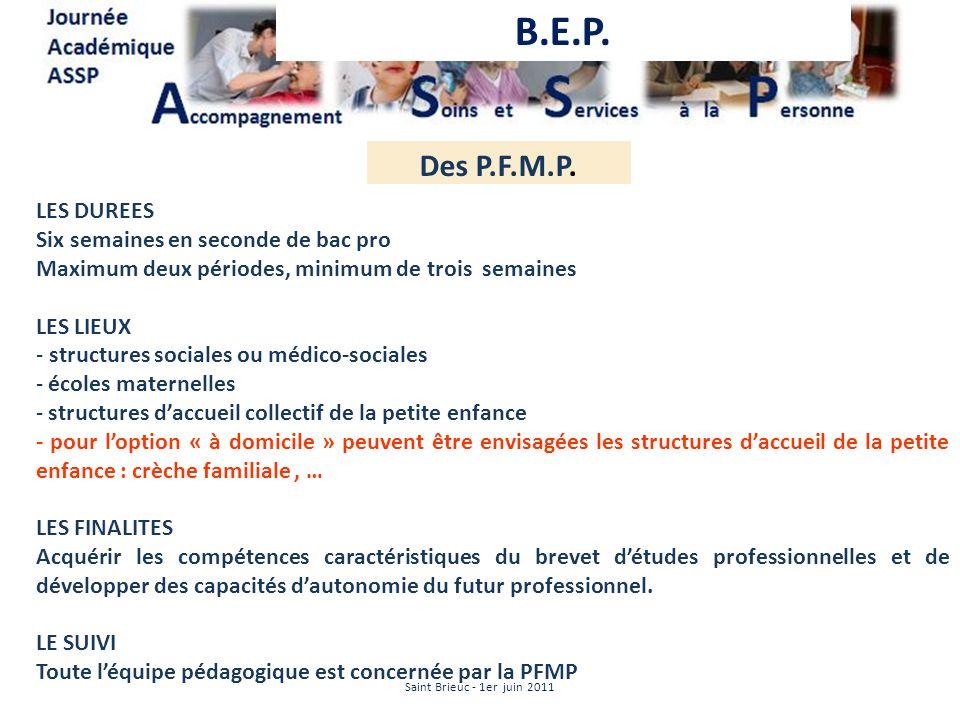 Des P.F.M.P. LES DUREES Six semaines en seconde de bac pro Maximum deux périodes, minimum de trois semaines LES LIEUX - structures sociales ou médico-