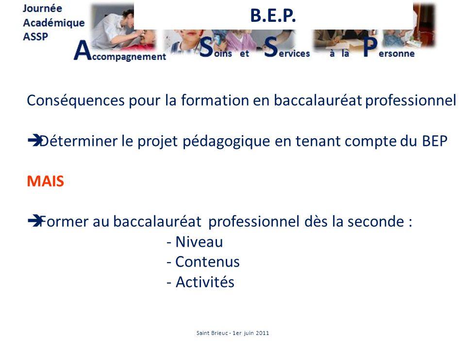 Conséquences pour la formation en baccalauréat professionnel Déterminer le projet pédagogique en tenant compte du BEP MAIS Former au baccalauréat prof