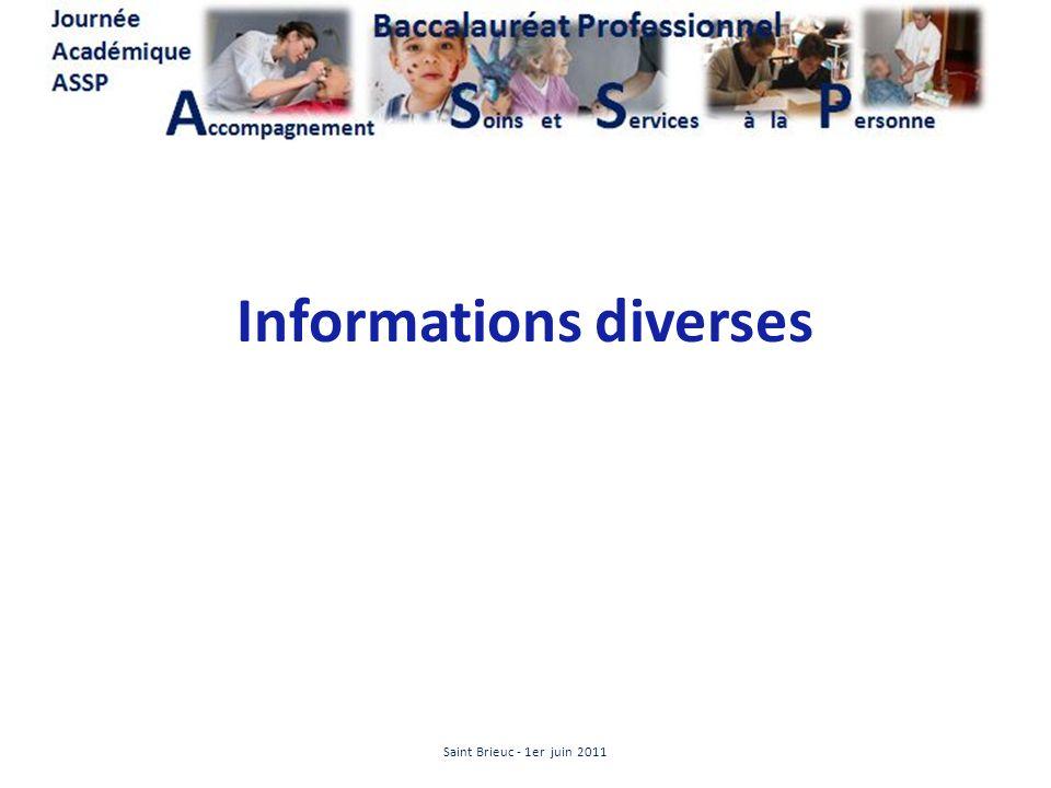 Informations diverses Saint Brieuc - 1er juin 2011