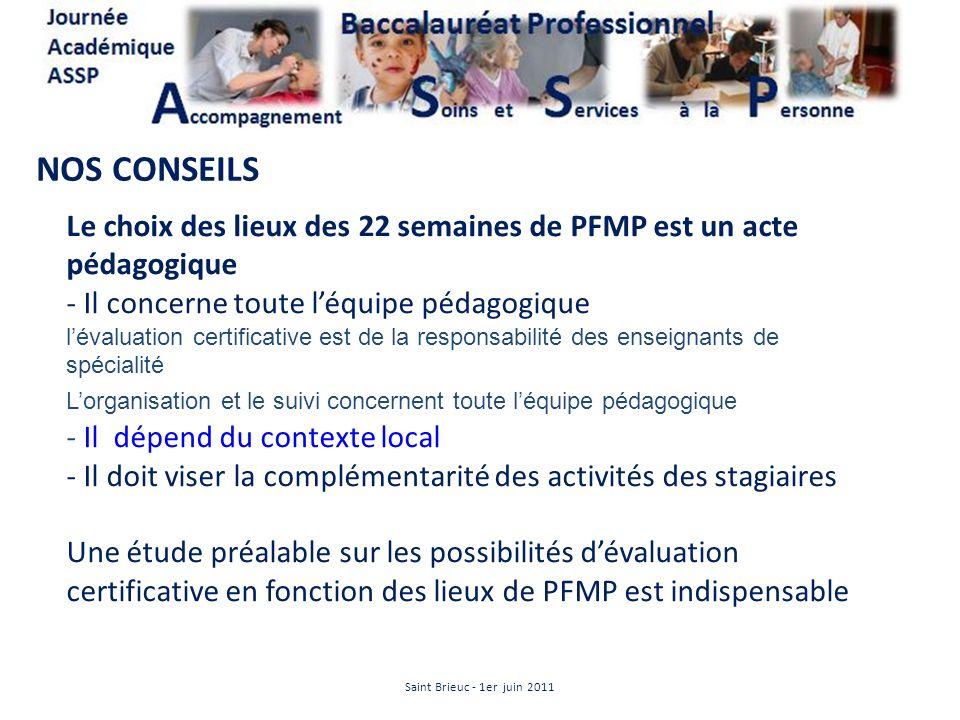 NOS CONSEILS Le choix des lieux des 22 semaines de PFMP est un acte pédagogique - Il concerne toute léquipe pédagogique lévaluation certificative est