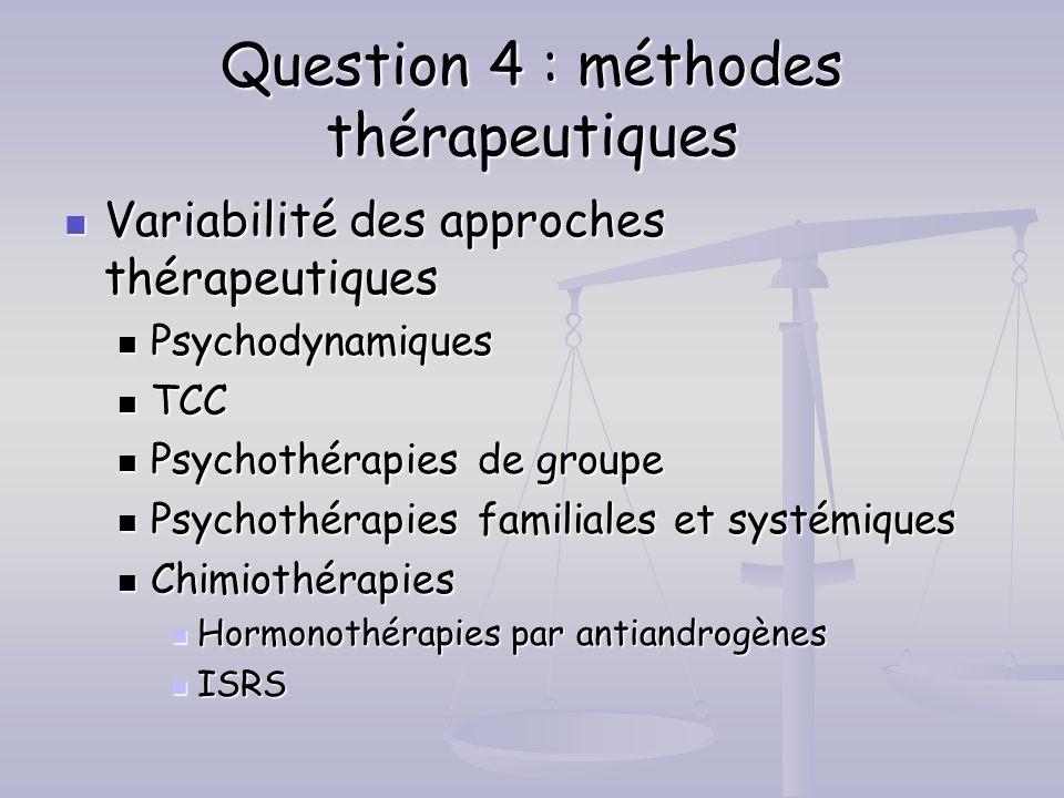 Question 4 : méthodes thérapeutiques Variabilité des approches thérapeutiques Variabilité des approches thérapeutiques Psychodynamiques Psychodynamiqu