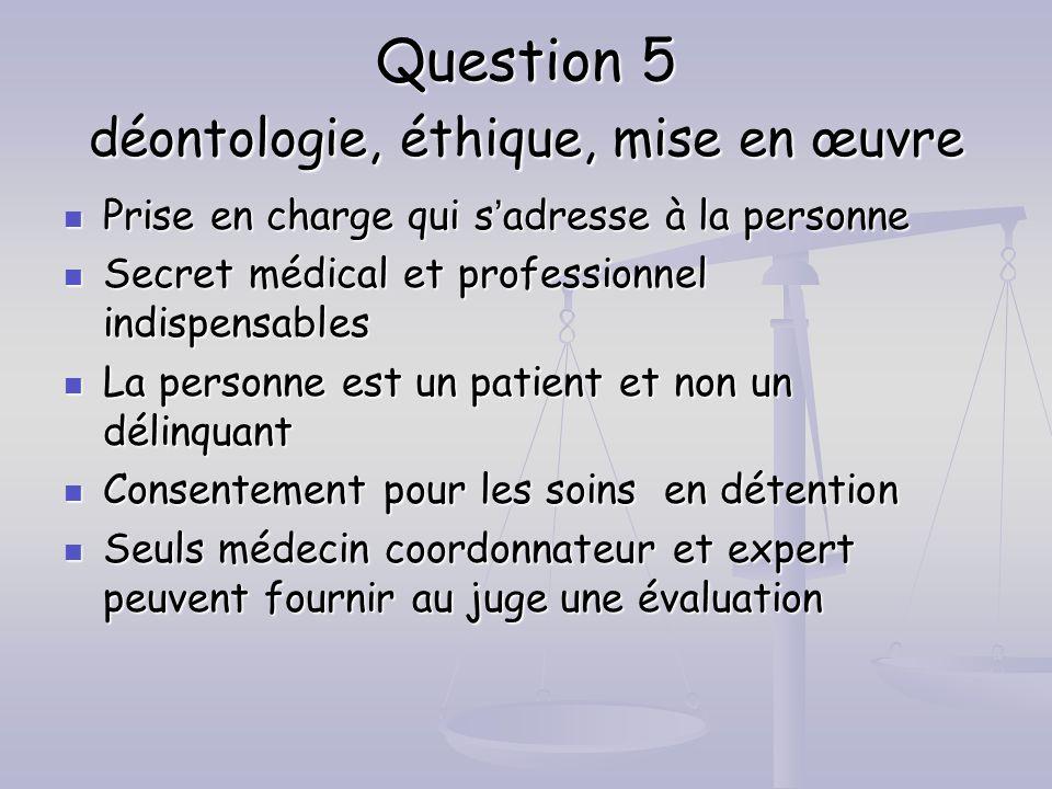 Question 5 déontologie, éthique, mise en œuvre Prise en charge qui sadresse à la personne Prise en charge qui sadresse à la personne Secret médical et